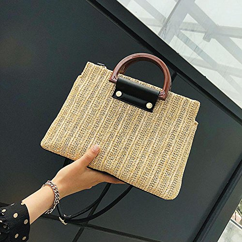 Tote Powlance Women Handbags Casual Messenger Straw Elegant Shoulder Crossbody Beach Camel wwOrxfqz