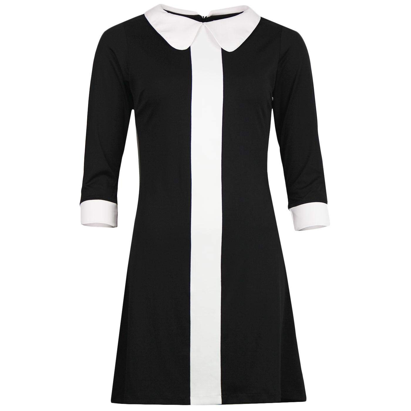 1960s Mad Men Dresses and Clothing Styles Madcap England Odyssey Retro 60s Mod Stripe Panel Jersey Dress £39.99 AT vintagedancer.com