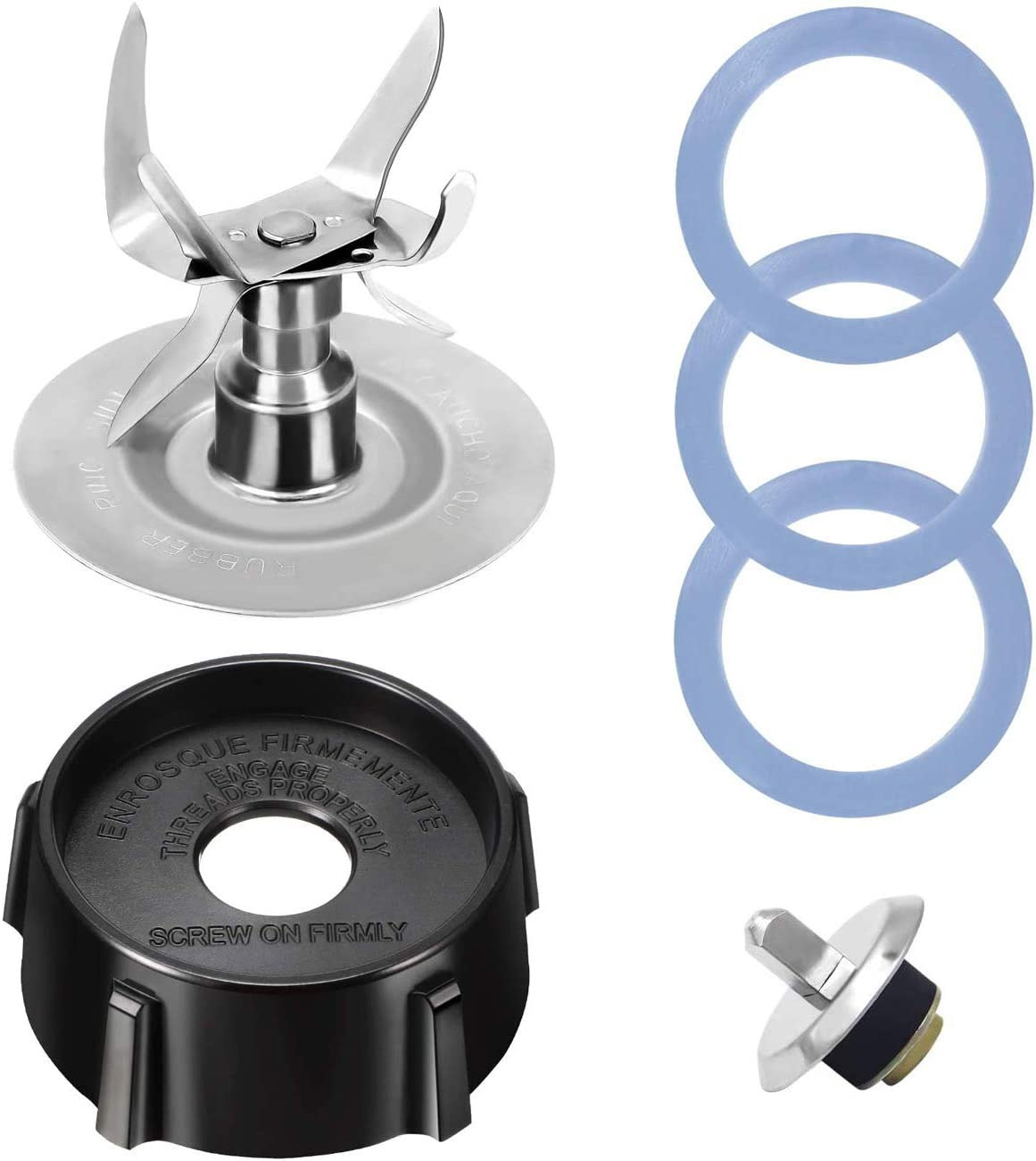 Replacement Parts Compatible with Oster Blender Ice Blades, Coming with Bottom Cap, Coupling Pin Kit, 3 Rubber O Sealing Ring Gaskets, Classic Blender Accessories Refresh Kit for Oster & Osterizer