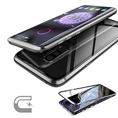 brand new 08d3f 26caf Samsung Galaxy S9 Plus S9+ Case, 9H Tempered Glass Back Cover(NO Tempered  Glass in Front), Metal Frame Ultra Thin Magnetic Adsorption Aluminum Alloy  ...