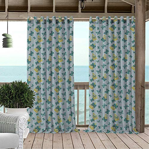 Linhomedecor Outdoor Waterproof Curtain Birdcage Exotic Butterflies Artistic Wings Flying Among Birdcages Pale Grey Seafoam Earth Yellow Porch Grommets Print Curtain 96 by 72 -