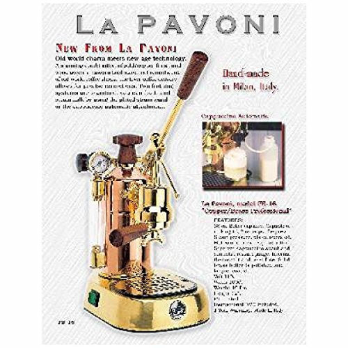 La Pavoni PB-16 Professional Copper/Brass Lever Espresso Machine; 38 oz boiler capacity; Capable of making 16, 2 oz cups of espresso; Makes one or two cups at a time 16 Cup Espresso Machine