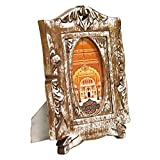 Indian Heritage Wooden Photo Frame 4x6 Mango Wood Carving Design with Natural Wood Color and White Distress Finish