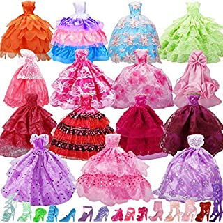 15 Pack Handmade Doll Clothes Dress & 15 Pairs Doll Shoes for Barbie Doll and Other11.5 Inch Doll, Accessories Lace Wedding Party Dresses Gowns Outfits Gifts,Organza Drawstring Pouches Gift Packing.