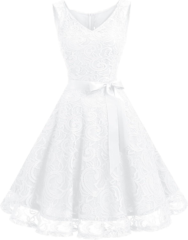 TALLA L. Dressystar Vestido Corto Elegante Mujer De Encaje Sin Mangas con Lazo para Madrina Fietsa White