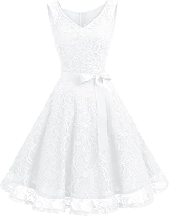 TALLA XXL. Dressystar Vestido Corto Elegante Mujer De Encaje Sin Mangas con Lazo para Madrina Fietsa White XXL