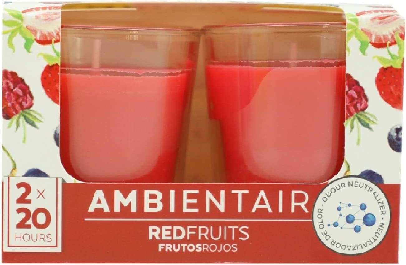 Ambientair. Velas aromáticas Aroma Frutos Rojos. Dos Unidades. Velas perfumadas con Cera Vegetal y Perfume Natural con una duración Estimada de 20 Horas Cada una.