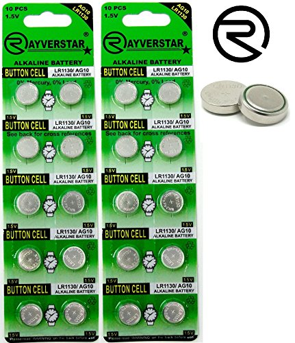 Rayverstar LR1130 AG10 1.5V Alkaline Batteries (20) Fits: L1131, 189, 389, 390, 534, 554, 603 (List Below)