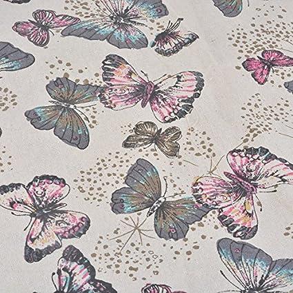 Tela de algodon retro de lino pastel para tapizar sillas descalzadoras para manualidades, costura cojines guirnaldas caravanas escaparates cortinas 1 ...