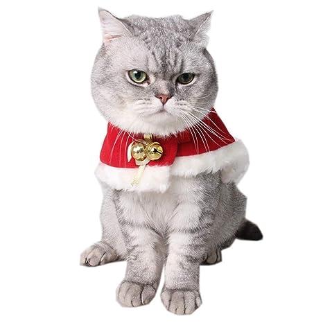 QinMM Disfraces de Gato Lindo Navidad Cómoda Ropa para Mascotas Festival Manto de Gato Vestido Abrigo