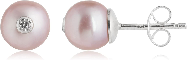 Córdoba Jewels |Pendientes en plata de Ley 925. Largo 7x7mm. Zirconita Perla Natural 7mm. Cierre: Presión. Diseño Perla Zirconium Rosado