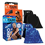 KT Tape PRO Synthetic Kinesiology Tape Two-Roll Bundles - 40 Count Precut I-Strips - Ice Crystal & Jet Black