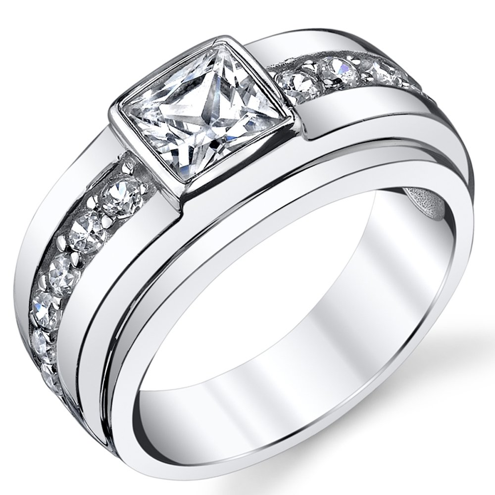 Sterling Silver Men's High Polish 1.5 Carat Princess Cut Wedding Band Ring With Cubic Zirconia CZ Size 11