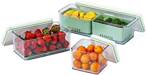 Lille Home Stackable Produce Saver, Organizer Bins/Storage Containers with Removable Drain Tray, Set of 3, for Refrigerators, Cabinets, Countertops and Pantry, BPA Free (Green)