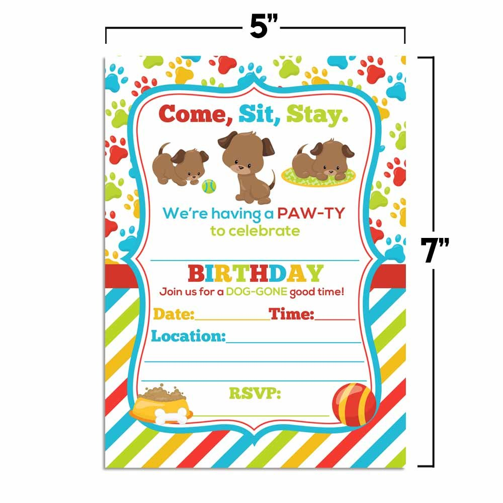 Amazon.com: Puppy Dog Paw-Ty Birthday Party Invitations, Ten 5\