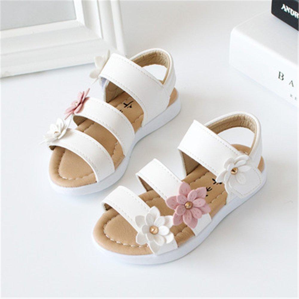 Toddler Girls Flower Open Toe Strap Sandals Summer Flat Princess Shoes