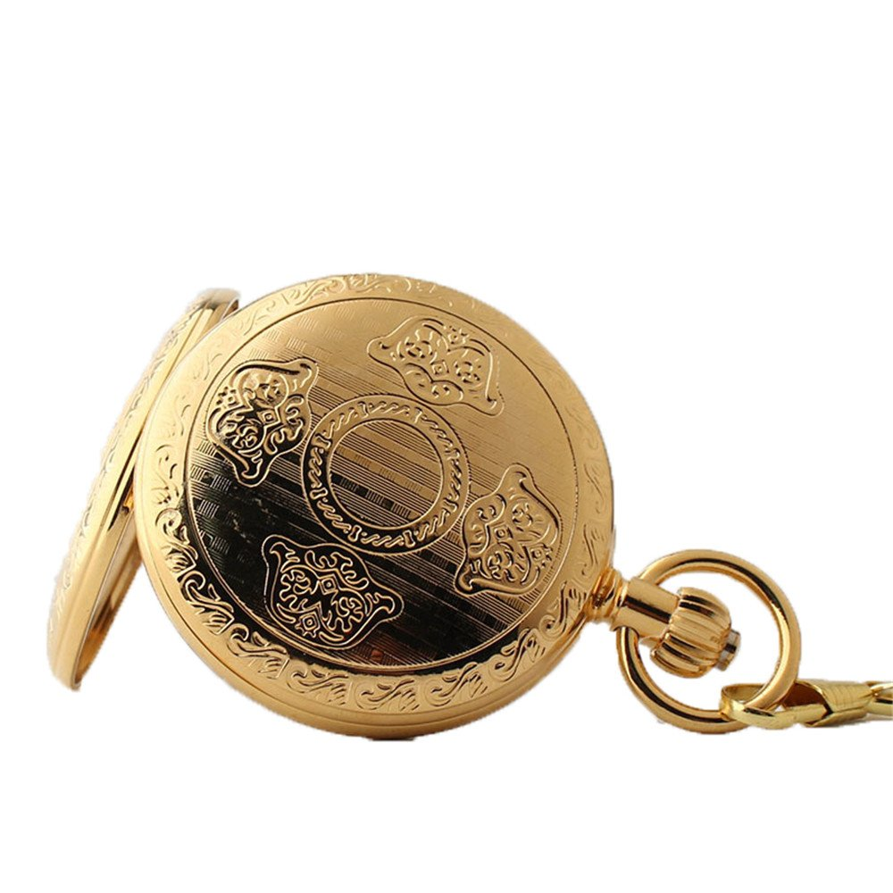 Zxcvlina Classic Smooth Men Women Mechanical Pocket Watch Golden Retro Carved Pocket Watch with Chain Suitable for Gift Giving by Zxcvlina (Image #2)