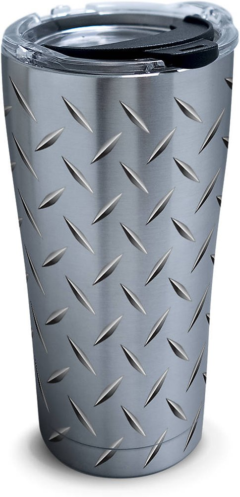 Tervis 1277991 Diamond Plate Stainless Steel Tumbler with Clear and Black Hammer Lid 20oz, Silver
