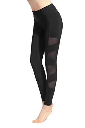 ae1ba949753bb Sosite Women Yoga Gym Mesh Splice Pants Stretch Workout Fitness Leggings  Black S