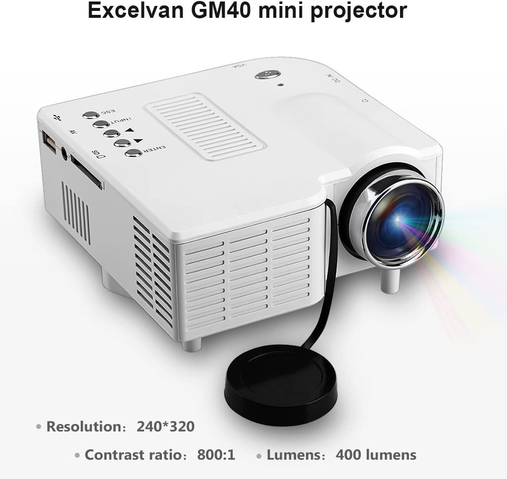 EXCELVAN GM40 - Mini Proyector LED LCD Portatil (Resolucion 320 x ...