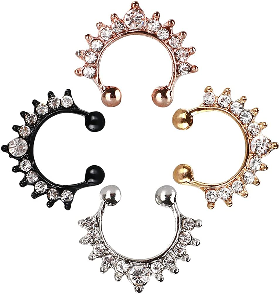 Amazon Com Fake Septum Ring Faux Septum Piercing Jewelry Clip On Nose Rings Hoop For Women Girls Adjustable Size Made With Hypoallergenic Material 4pcs In Black Silver Gold Rose Gold Best Gift Ideas Jewelry