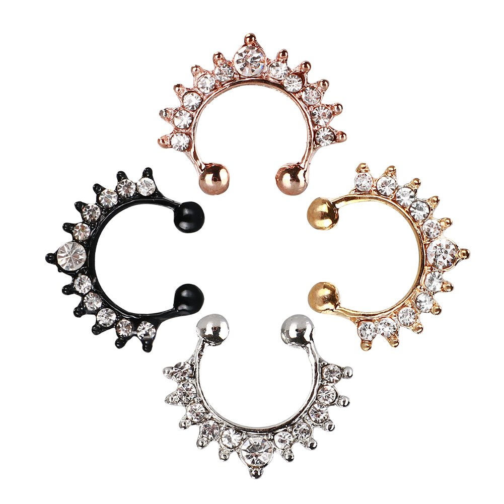 Septum Fake Nose Ring , 4PCS Women Crystal Faux Nose Rings Non-Piercing Jewelry Clip On Clicker Black/White/Gold/Rose Gold- Gift Choice (4PCS)