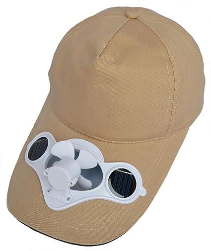 ba28c952a Amazon.com: Solaration174; 7001 Beige Fan Hat w/Solar Panel on the Cap  Front: Sports & Outdoors