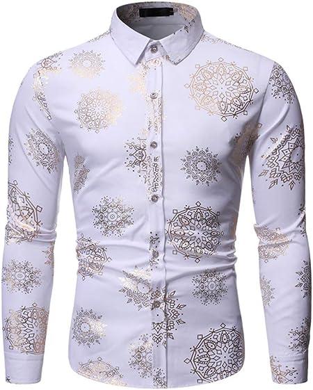 LISILI Camisa De Hombre Brillante Dorado Flores 3D Impresión Manga Larga Ajustado Abotonar Camisa De Vestir para Fiesta/Boda/Espectáculos,Blanco,M: Amazon.es: Hogar