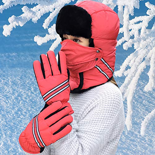 HKANG Winter Hat Gloves Mask Three In One Unisex Keep Warm Waterproof Glove  Sets Suitable For Outdoor Riding Skiing bd43fe598866