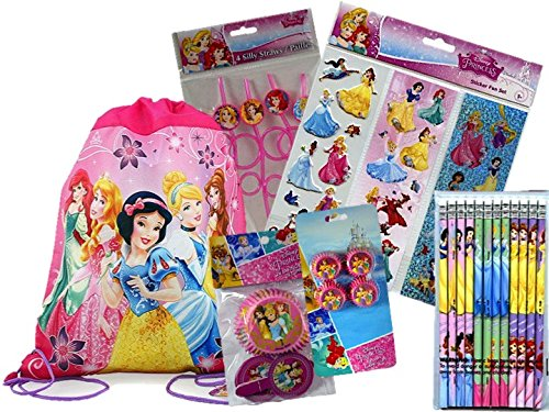 Children's Disney Princess Party Favors and Cupcake Set for 16 Guests-INCLUDES A BONUS Princesses Sling Bag for the Birthday Child!