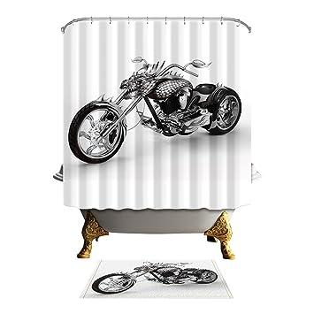 Antart Harley Davidson Motor Shower Curtain 71x71 Inch And Matching Mat Set    Mildewproof Waterproof