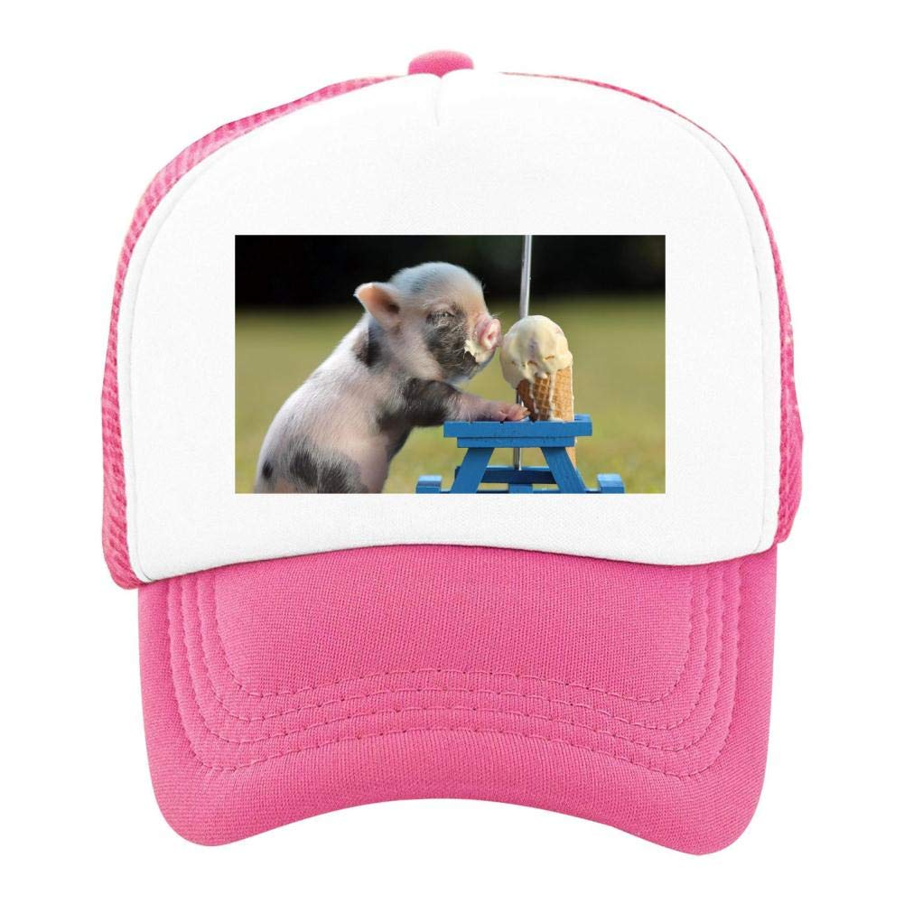 Kids Girls Boys Mesh Cap Trucker Hats Pig Ice Cream Adjustable Hat Pink