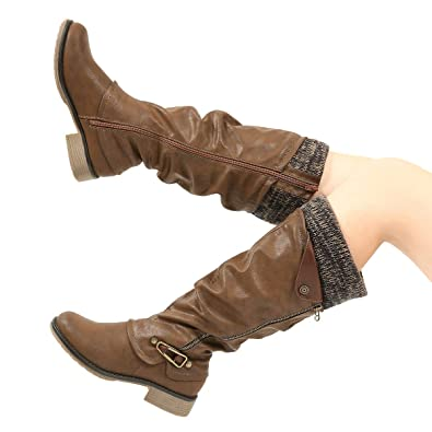 f6b370c89b15 Women s Shoes gracosy Knee High Boots Womens Leather Ankle Riding Boots  Ladies Low Flat Heel Closed Toe Fur Lined Winter Warm Snow ...