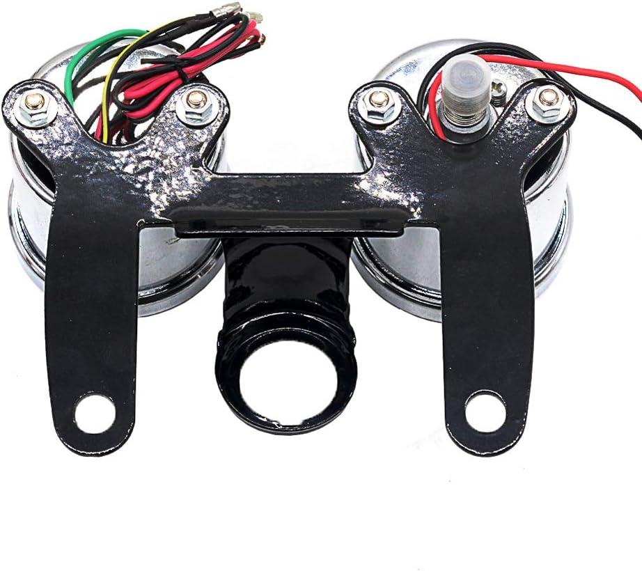 Dibiang Compteur kilom/étrique et compte-tours de moto Compteur de vitesse universel /à r/étro/éclairage LED 12V