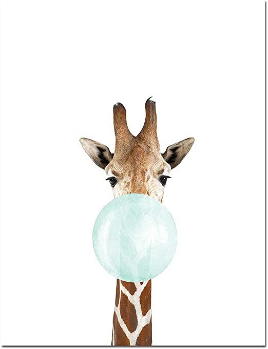 GIRAFFE ART PRINT POSTER Animals Colourful Color Pop Bright Decor Illustration