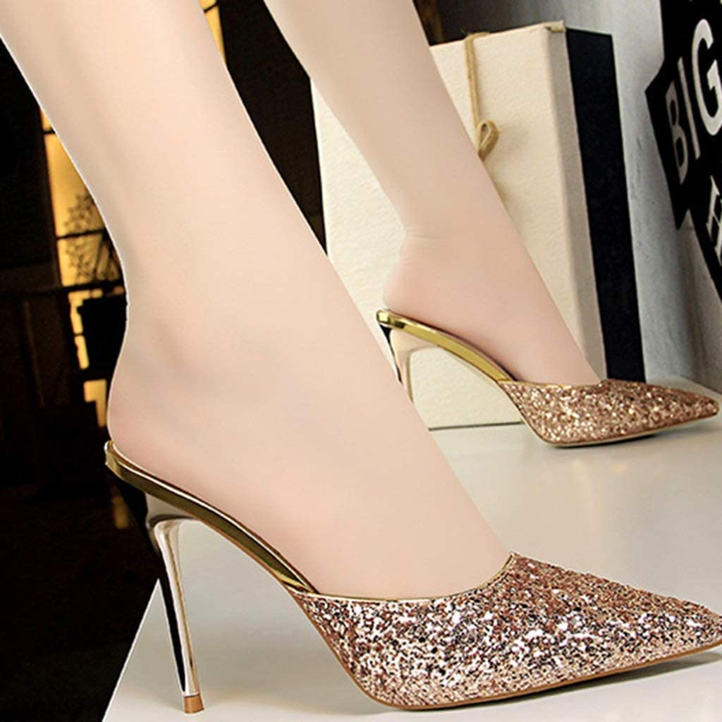 Color : Gold, Size : 40 Sandals Womens High Heels Summer Heels Stiletto Heels Super Pointed Toe Shoes Womens Shoes Half Slippers Fitting Shoes