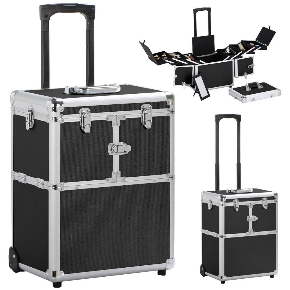 19'' Aluminum Makeup Rolling Train Case Lockable Cosmetic Wheeled Box w/ Hand - Black By Allgoodsdelight365
