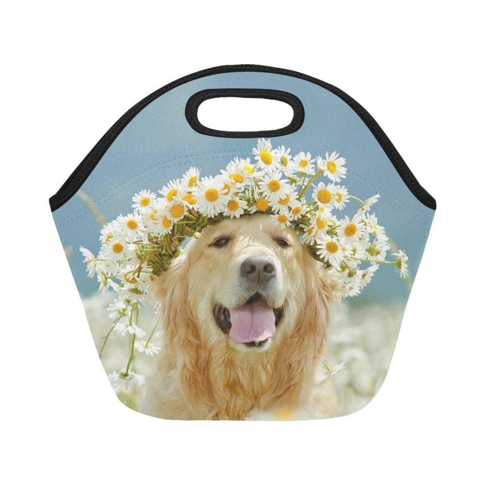 InterestPrint Dolden Retriever Dog Flower Reusable Insulated Neoprene Lunch Tote Bag Cooler 11.93'' x 11.22'' x 6.69'', Cute Animal Spring Wreath Portable Lunchbox Handbag for Men Women Adult Kids