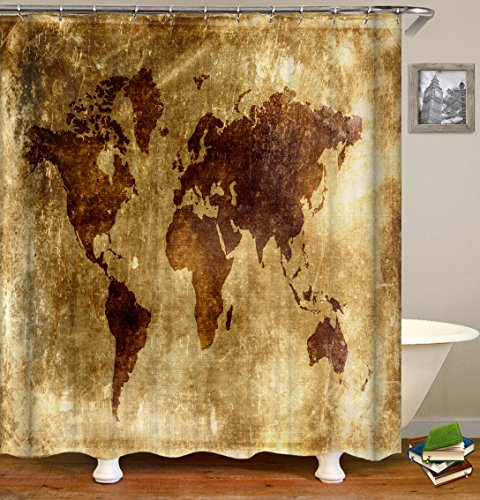 QCWN Antique Vintage World Map shower curtain,Polyester Fabric Bathroom Shower Curtain Set with Hooks,Field Gray