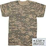 Military Camouflage T-Shirt Camo Crewneck Tee Short Sleeve Top with ArmyUniverse Pin