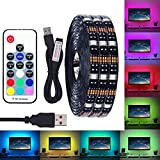 amiciKart USB 5V Waterproof 5050 RGB Led Strip Ip67, with Rf Remote for Tv Background, 2m, Black