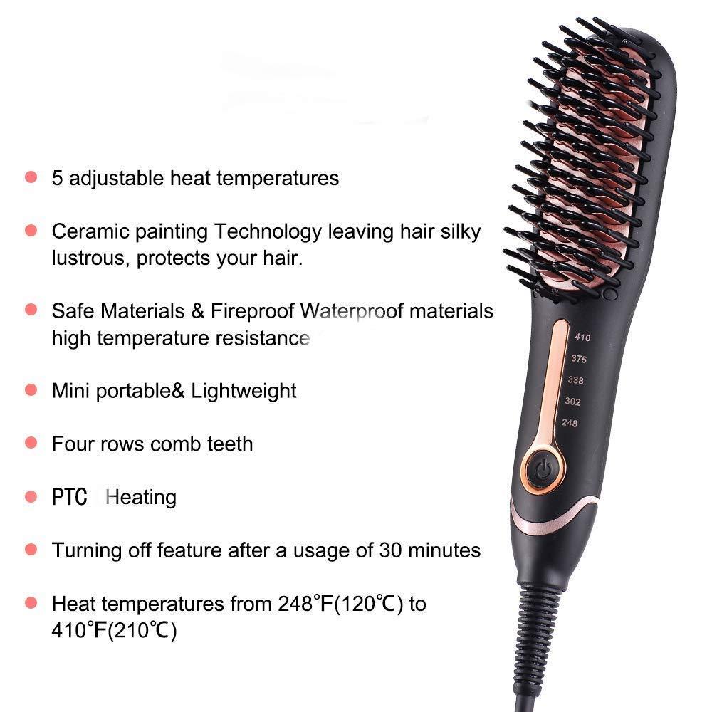 Hair Straightening Brush 3.0, Buture Mini Hair Straightener Brush Negative ion Ceramic Iron Hair Brush Fast Heat Hot Brush Travel Size Anti-scald MCH 110-240V Auto Off Temperature Lock
