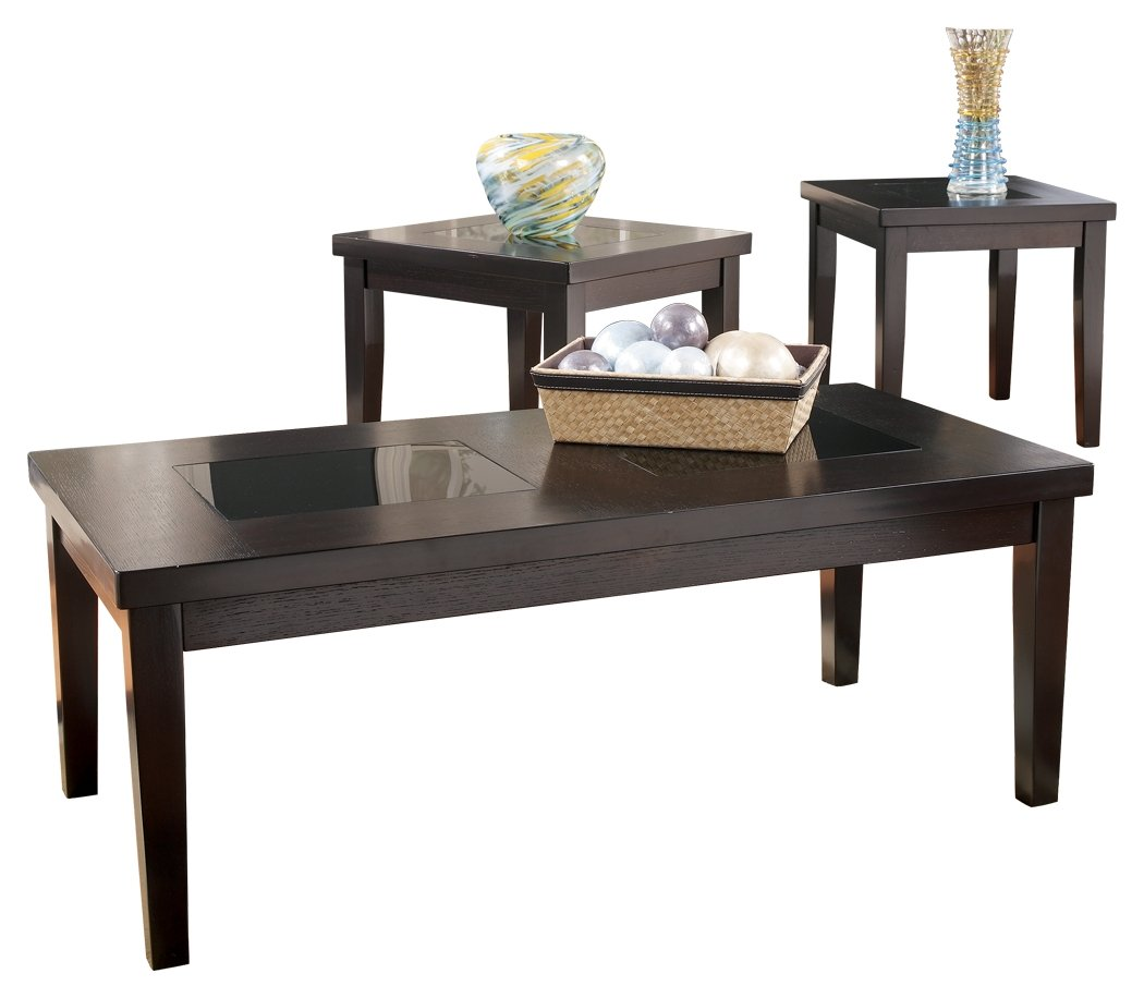 Ashley Furniture Signature Design Denja Occasional Table Set Contains Cocktail Table 2 End Tables Contemporary Dark Brown
