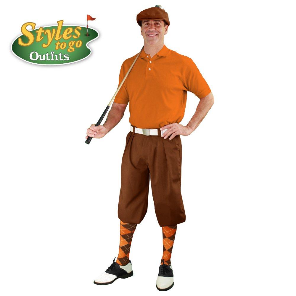 メンズゴルフOutfit – ブラウン&オレンジゴルフKnicker Complete Outfit B078MYSYZZ  Waist Size-26 Shirt Size - Large