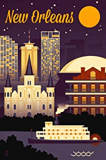 product image for New Orleans, Louisiana - Retro Skyline - Purple 95398 (16x24 Giclee Gallery Print, Wall Decor Travel Poster)