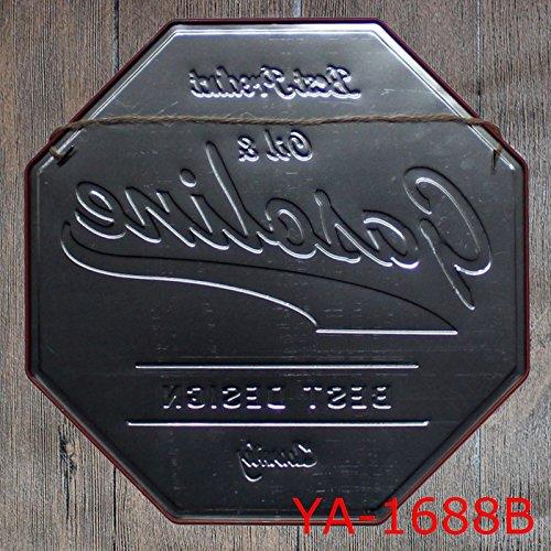 RED Drawihi 1pcs Vintage Poster Metallo ottagono Bar Cafe Pub Arredo Murale Cartello 32cm-STOP