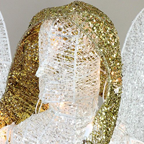 48'' LED Lighted White and Gold Glittered Angel Christmas Outdoor Decoration - Warm White Lights by Northlight (Image #2)