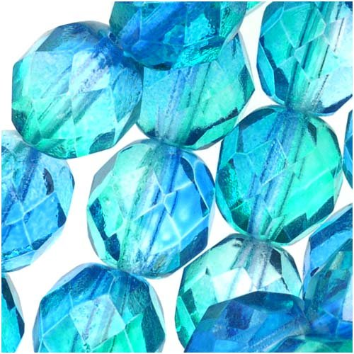 Beads 8mm 25 Round (Czech Fire Polished Glass Two Toned Beads 8mm Round Blue Green (25))