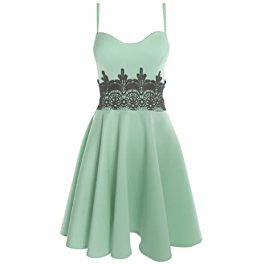 8a4601e33d3 Womens Ladies Sleeveless Strappy Waist Lace Flared Franki Skater Dress Plus  Size
