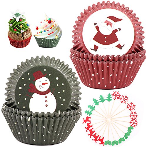 Cupcake Liners Wrappers for Christmas Eve Party, 200 Pieces Muffin Polka Dots Backing Cups Including 20 Pcs Christmas Motive Cake Toppers Flags